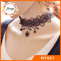 Fashion lace flower choker necklace with black stones for women