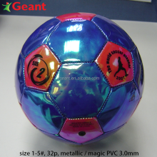 soccer ball metallic pvc, 2.5-3.0mm, machine stitching, magic color size 5#, size 1#, football