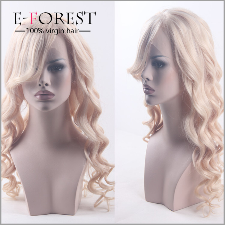 Top Grade Glueless Silk Base Blonde Brazilian Hair Full Lace Wig With Baby Hair
