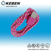 High quality mobile phone Pink 1m fabric textile micro usb cable