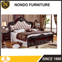 Royal luxury european antique carved wood king bedroom furniture set DAL-03