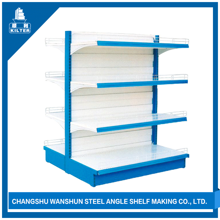 4 Layer board store advertising display supermarket shelf with metal rack