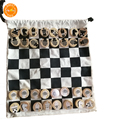 Wooden Chess Set with Felted Game bag Interior for Storage Wooden Chess brain training chess Educational toys for kids
