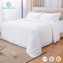 Wholesale hotel textile 3cm satin stripe white 100% cotton material bedsheets bedding sets