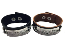 Brown/black color adjustable bracelets,inspirational words metal charm cuff bracelets,wide leather bracelet