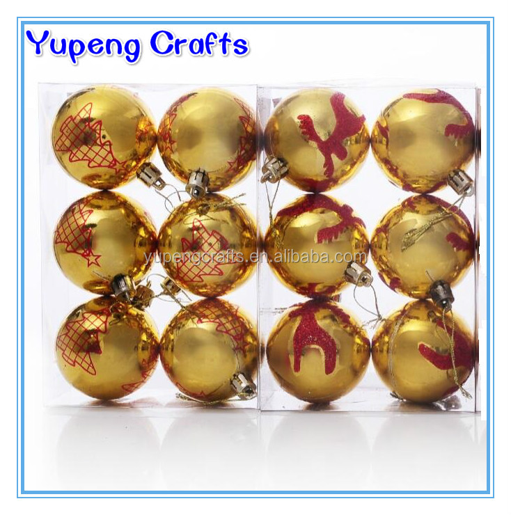 Promotion Yellow Decorative Christmas Logo Ball Xmas Tree Hanging Ball