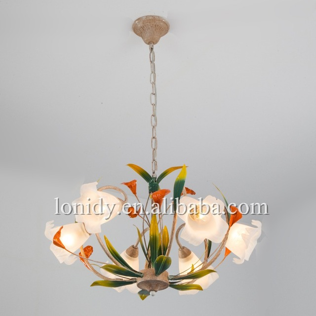 Zhongshan factory pendant lamp flower leaf iron chanderlier living room lighting