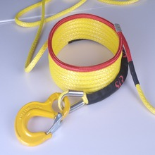 10mm yellow UHMWPE synthetic winch rope with coating and hook