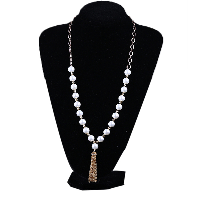 Plated Gold Chain Shell Pearl Beads Tassel Sweater Necklace