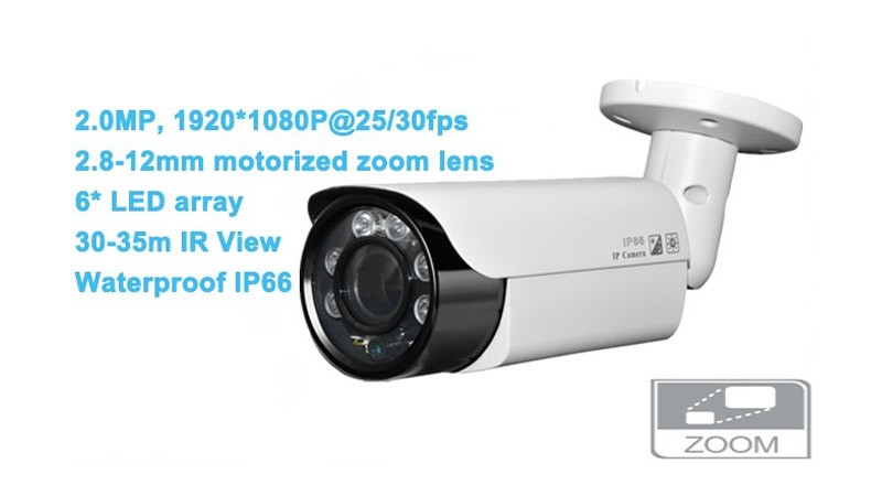 40m Night Vision Outdoor IP66 Waterproof 2.8-12mm Motorized Zoom Lens Support POE 4MP H.265 ip camera