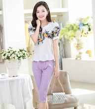 2014 ladies clothing tops latest design with elegant flower design women t shirt type