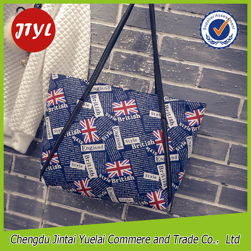 British Flag Printed Canvas Business Handbags Bags Women Handbag for College Girls