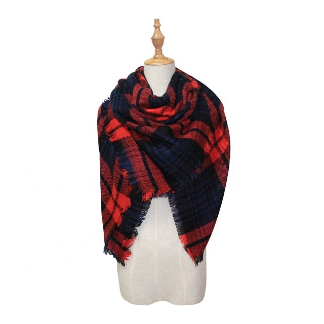 Wholesale Amazon Hot Sale Unisex Colorful Winter Fashion Keep Warm Plaid Scarf Wool Pashmina Scarves Shawl For Woman