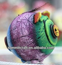 Color painting cocnut lovely pig coconut shell made handicraft wholesale