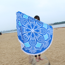 Florida Round Beach Towels with Tassel , Microfiber Roundie Beach Throw Indian Mandala Tapestry Picnic Mat Home Gym Yoga Mat