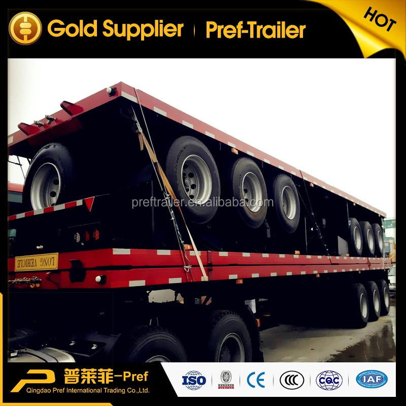 Trailer manufacturer tri-axle 40ft platform trailer/high bed trailer/flat bed trailer for container
