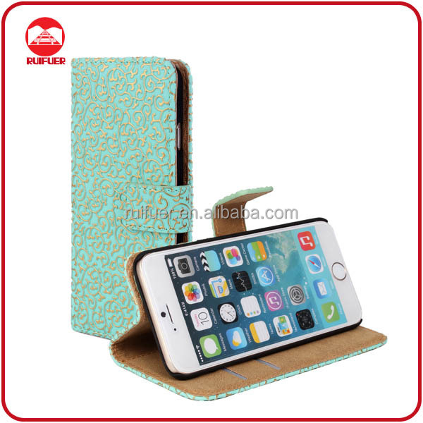 China Manufacturer High Quality Book With Card Holder Stand Luxury Wallet Leather Case for iphone 6 Plus