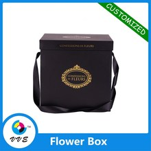 Cheap CMYK printing paperboard black square flower box waterproof paper box