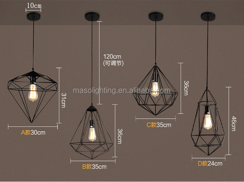 Industrial vintage pendant light Indoor hanging pendant light E27 Edison bulb LED pendant light fixture black cage pendant lamp