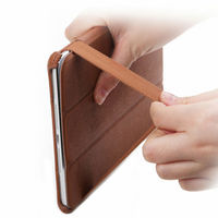 Popular stylish smart cover leather case with elastic band for ipad mini case