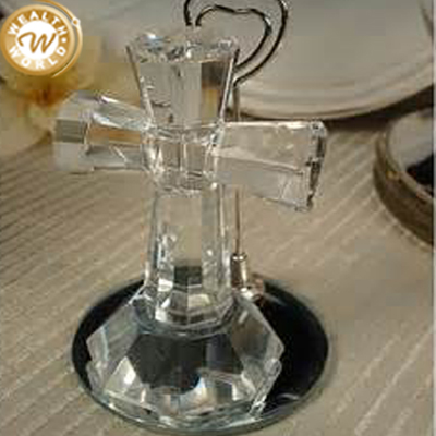 crystal glass cross ornament