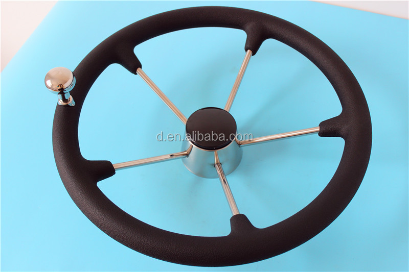 "15-1/2"" Steel Marine Destroyer Steering Wheel 5 Spoke Black PU Foam With Knob"