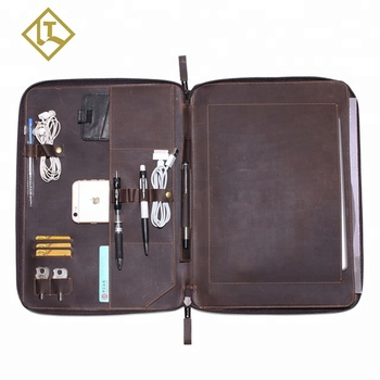 Fits A4 file documents travel vintage leather briefcase business men zipper organizer leather portfolio file folder