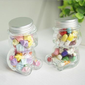 high quality new style cute cartoon animal shape candy glass jar
