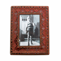 Red Antique Carved Metal Photo Picture Frame