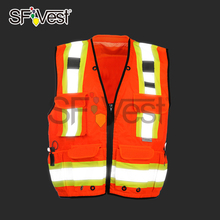 Reflecting safety vest,100% polyester oxford with pockets ANSI/ISEA