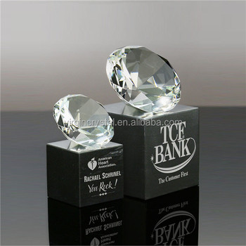 High quality large diamond with black crystal base as trophy parts