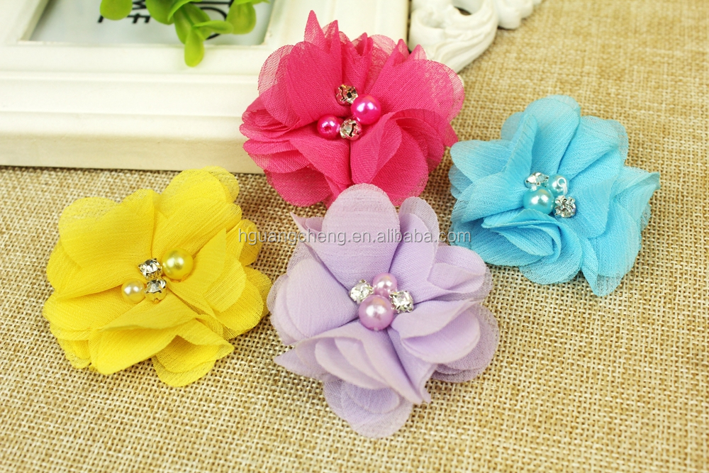 Three-dimensional bowknot Large satin fabric bows with shiny crystal rhinestone centers
