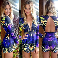JPSKIRT1504394 Sexy V-Neck Backless Floral Print Prom Jump Suit