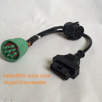 Truck diagnostic cable J1939 Type II green male connector j1939 to obd2 adapter