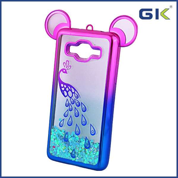 [GGIT] Double Color Gradient Electroplating With Mickey Ears Liquid Quicksand TPU Phone Case For Samsung Galaxy G530 Back Cover