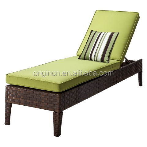 Cheap Green cushions wide rattan hand woven sun lounger outdoor lounge chair