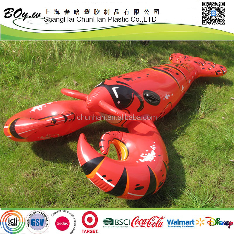 2017 new design factory wholesales animal mattress pool water play equipment pvc ride on giant inflatable lobster float