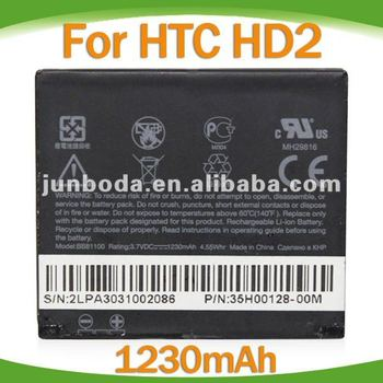 wholesale!!cell phone 1350mAh Battery For HTC HD2 T8585