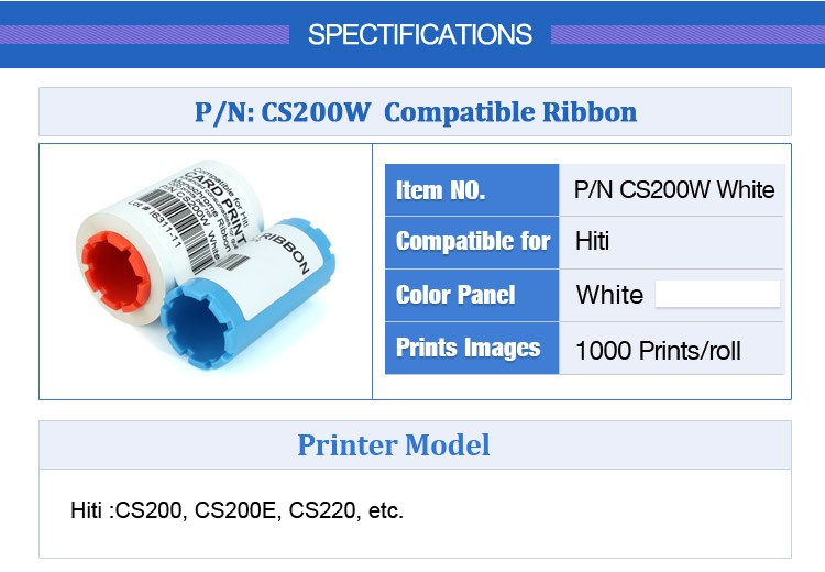 compatible ribbon for Hiti CS200 White for CS200 CS200e CS220e printer