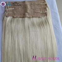 Top silky straight hair 100 percent virgin Russian human hair cheap halo hair extensions