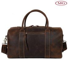 Retro italian crazy horse cow real leather bags men duffle bags for travel