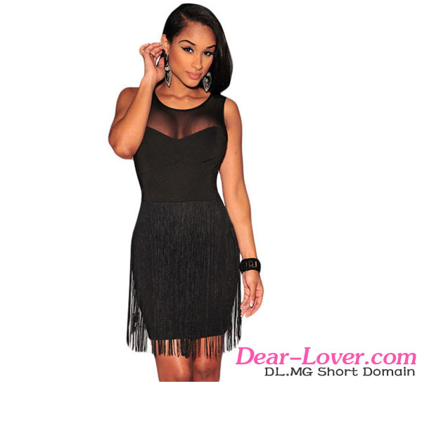 Hot Sale Wholesale Black Mesh Accent Fringe Mini Dress sex mother of the bride dress