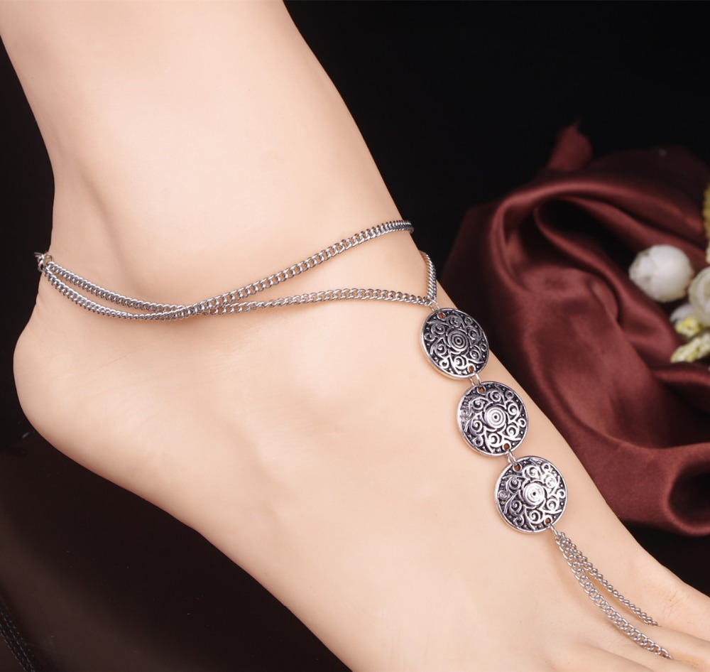 X60834a Vintage Anklet Ankle Bracelet Sexy Coin Barefoot Sandals Women Foot  Jewelry
