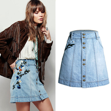Occident stock street fashion floral light blue casual high waist slim button embroidery women denim A line <strong>skirt</strong>