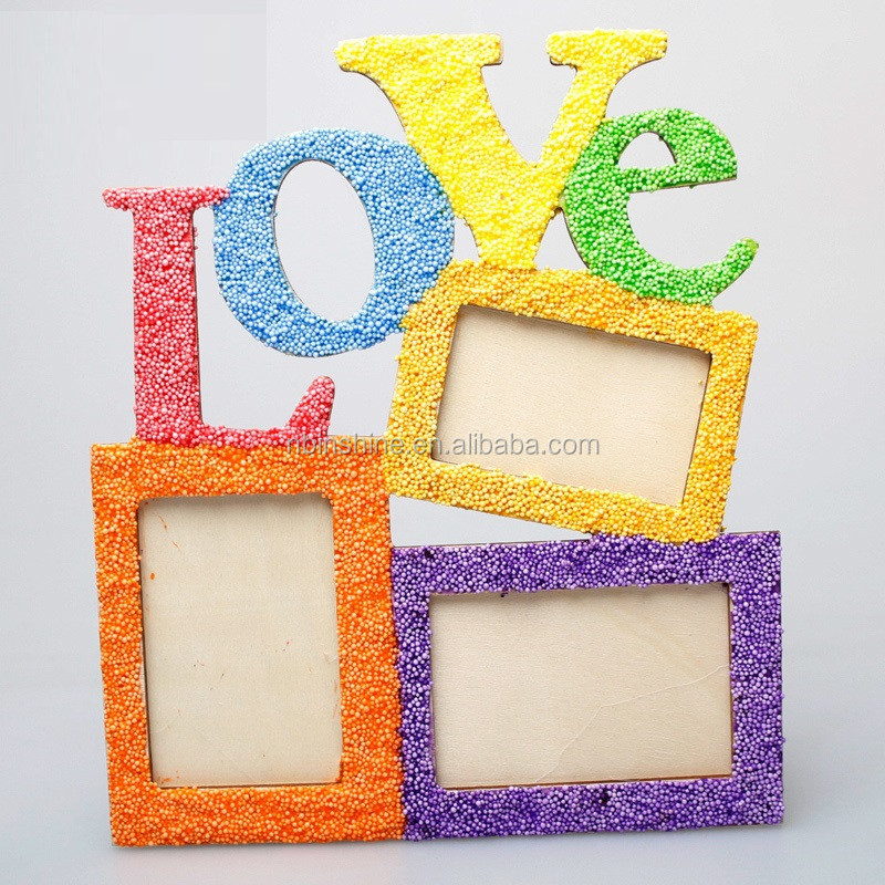 Diy pearl clay wood love photo frame , wood craft , wooden decoration