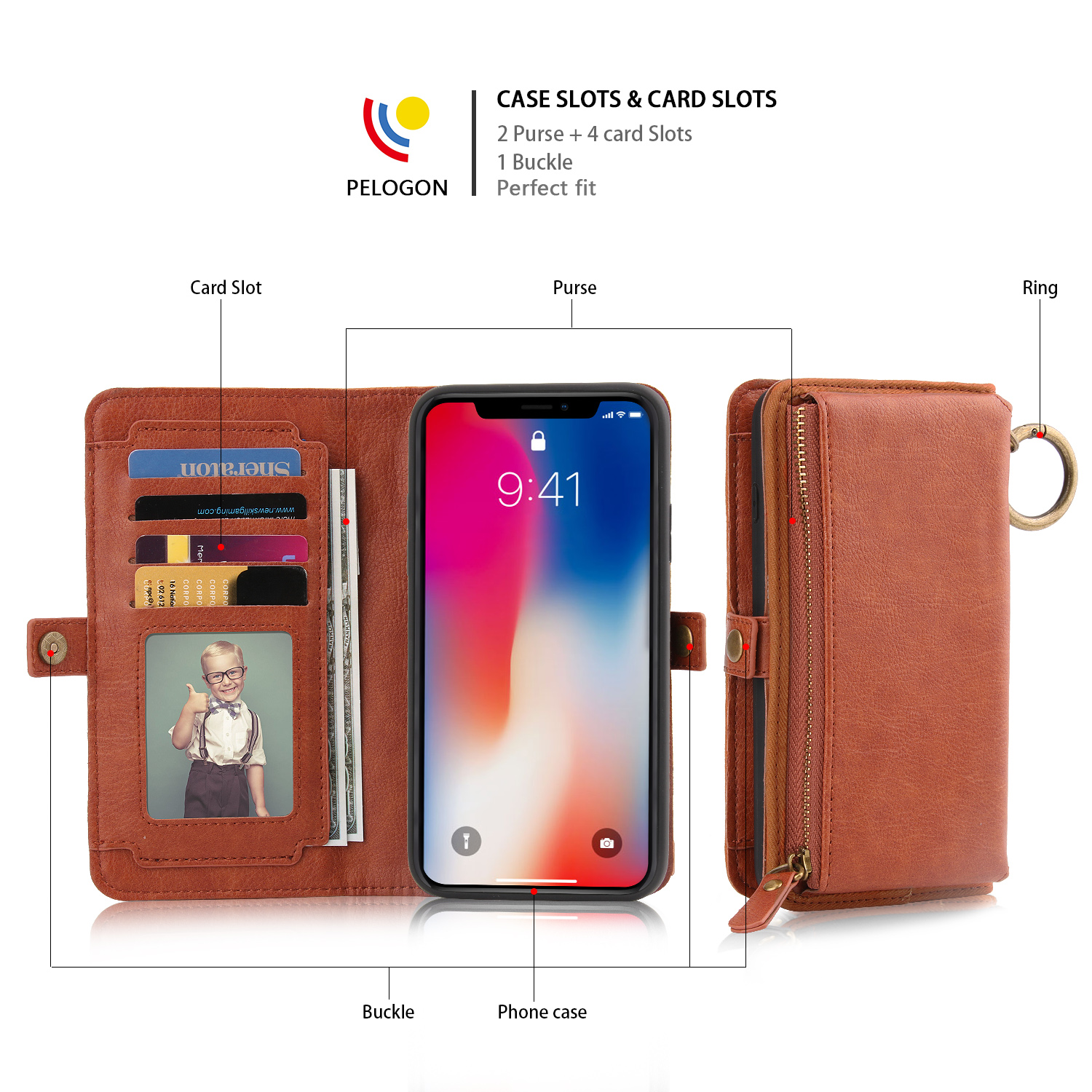 Flip phone case for iphone leather wallet lenovo s920