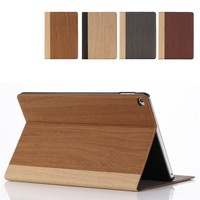 New Wood skin design leather flip case for ipad air 2 case with credit card slot and stand!!
