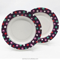 Lovely Disposable Round Paper Plates With Polka Dots For Party Decoration