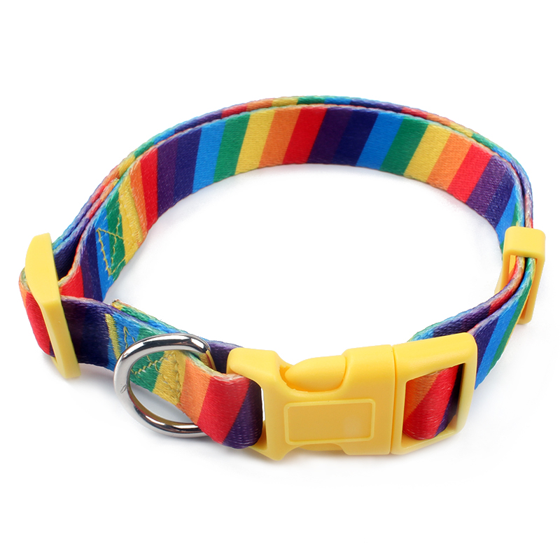 The newest polyester rainbow color specialized dog collar harness and leash