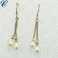 2013 China Wholesale Fashion Jewellery Metal Pearl Clip Earrings